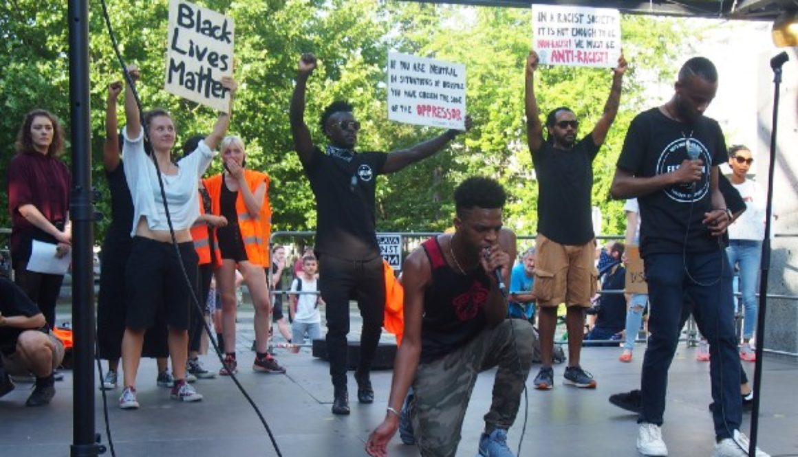 Kunta J performing during Black Lives Matter protest