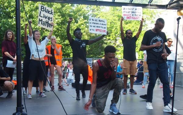 Kunta J performing during Black Lives Matter protest