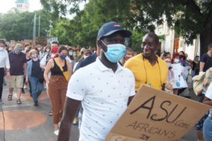 Mamadou was one of the ASU volunteers during the Black Lives Matter gathering in Bratislava