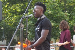 Martin delivering a speech at a Black Lives Matter gathering