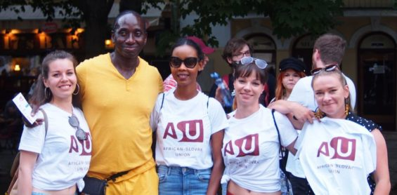 ASU team with Ibi Maiga during the Black Lives Matter protest in Bratislava