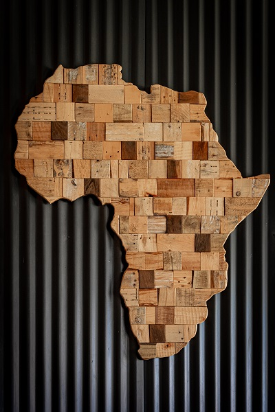 map of Africa mde from wooden cubes