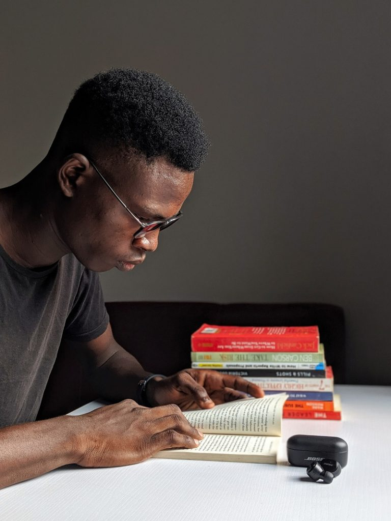African male student studying